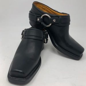 Frye Women Belted Harness Mule Clog Black Leather